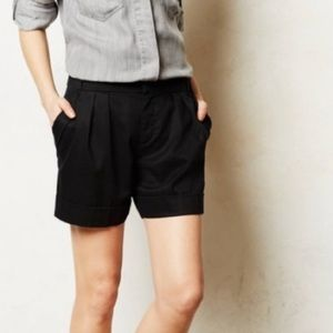 Anthropologie Cartonnier Black Pleated Shorts